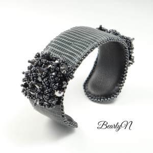 bracelet lézard brodé, vue de dessus_BearlyN