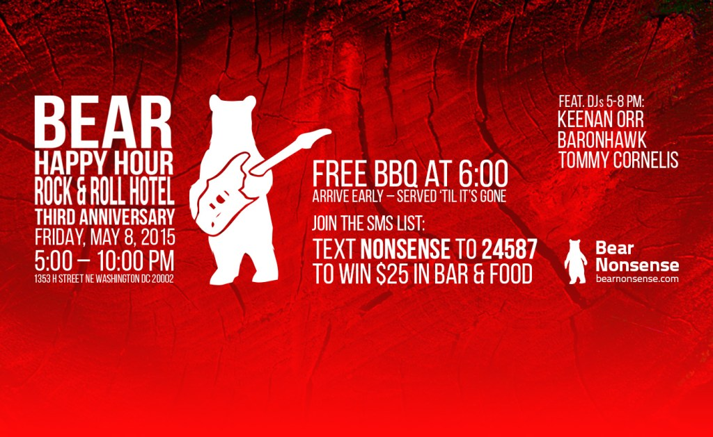 may 8 poster Bear Happy Hour at Rock & Roll Hotel
