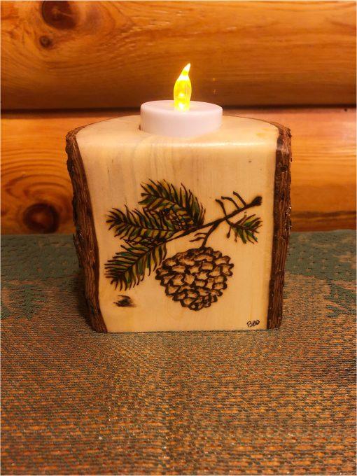 Single Log Candle Holder