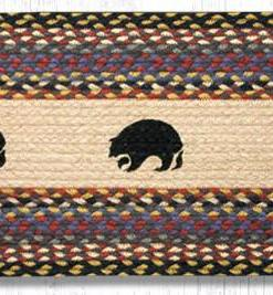 "Black Bears 13"" x 36"" Braided Runner"
