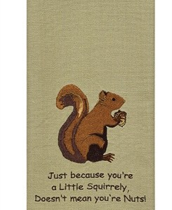 Squirrel Embroidered Towel