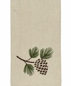Pinecone Embroidered Dishtowel