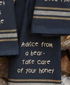 Advice From A Bear Embroidered Dishtowel