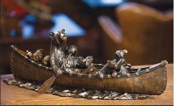 "Big Sky Carvers Jeff Fleming Bearfoots ""Canoe Trip"" Sculpture"