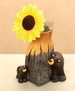 """Big Sky Carvers """"Bear & Cub"""" Bud Vase Figurine"""