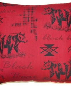 "Black Bear Scarlet 26"" x 26"" Pillow"