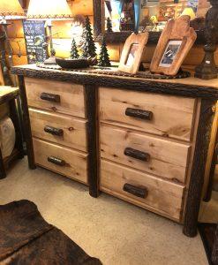 Hickory Log Six Drawer Wood Dresser
