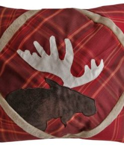 Red Plaid Moose Pillow