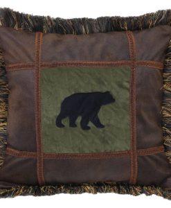 Bear on Pine Square Pillow