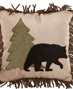 Tall Pine and Bear Pillow