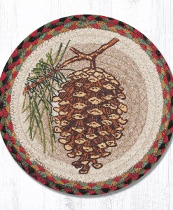 "Large Pinecone 10"" Round Braided Trivet"