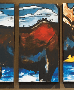 Moose Metal Box Triptych Signed Wall Art