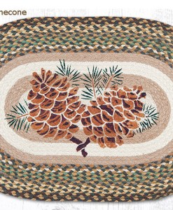 Large Pinecone 20 x 30 Oval Braided Jute Rug