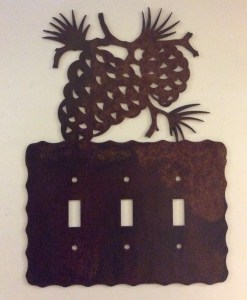 Pine Cone Triple Toggle Switch Plate Cover