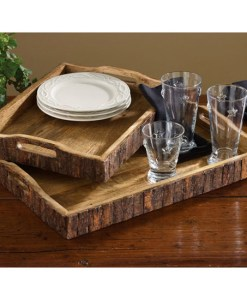 Wood With Bark Edge Trays
