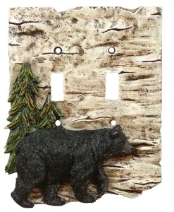 Bear and Tree Double Switch Plate Cover