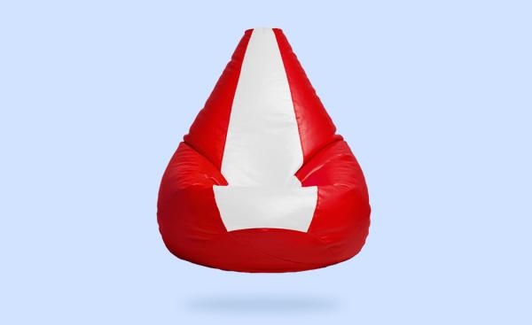 red white bean bag