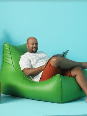 green lounge beanbag leather model