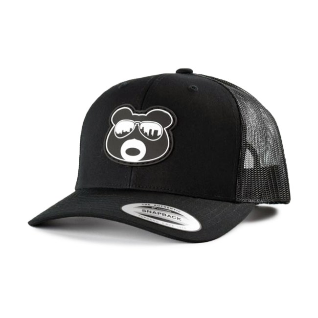 BearThug Snapback Ball Caps - Black/Black Mesh (PVC Patch)