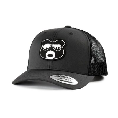 BearThug Snapback Ball Caps - Charcoal/Black Mesh (PVC Patch)