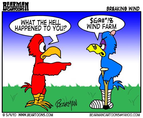 Bearman Cartoon Wind Farm Hazard for Birds