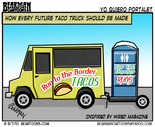Bearman Cartoon Wired Magazine Taco Truck of the Future