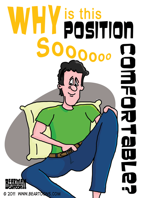 Man with Hand Down Pants Cartoon