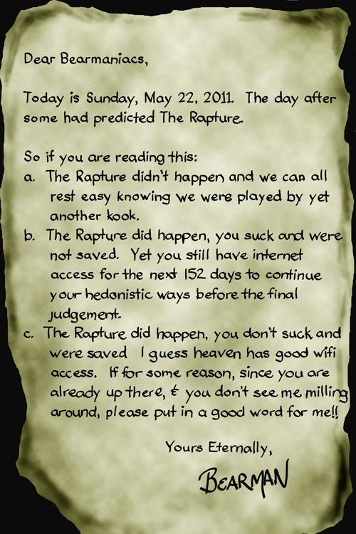 Rapture final letter