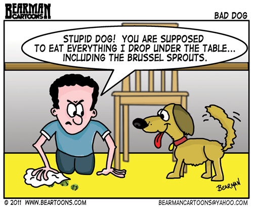 Feeding Dog at the Table Cartoon