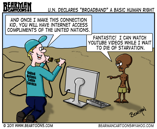 Editorial Cartoon: United Nations Broadband Basic Human Right