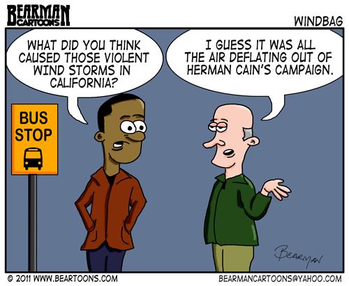 Editorial-Cartoon Herman Cain California Wind