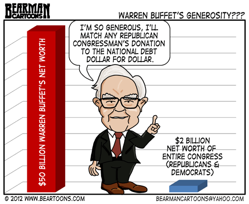 Editorial Cartoon: Warren Buffet National Debt Challenge