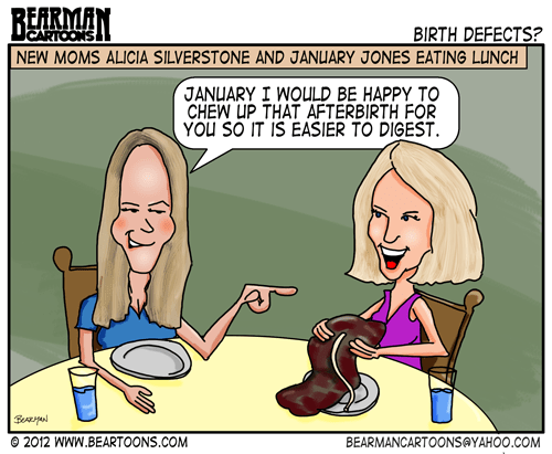 Editorial Cartoon: Celebrity Moms Alicia Silverstone and January Jones