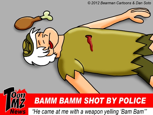 Bamm Bamm Rubble Shot by Police Cartoon