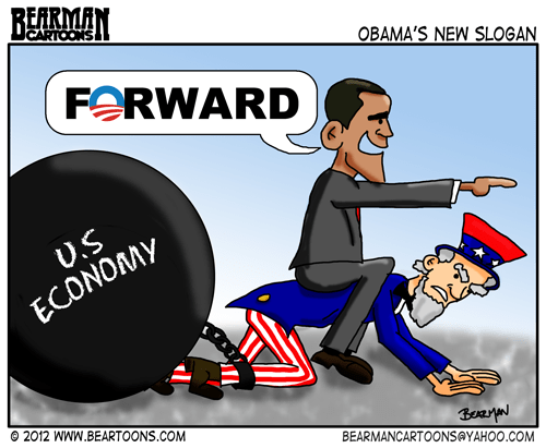 Bearman Cartoon Obama Forward Slogan