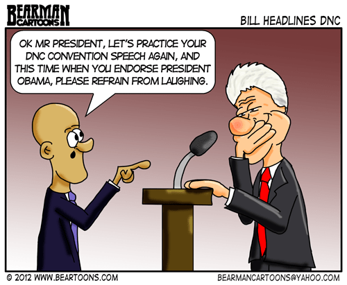 Editorial Cartoon: Bill Clinton Speaks at DNC Convention