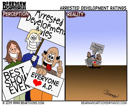 5-28-13-Bearman-Cartoon-Arrested Development Ratings Perception vs Reality