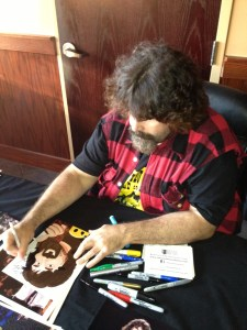 Mick Foley signing autograph Bearman Cartoons