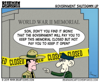 10 8 13 Bearman Cartoons Government Shutdown National Monument Rangers