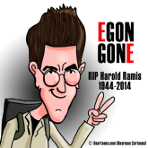 Harold Ramis RIP Cartoon Caricature by Bearman Cartoons