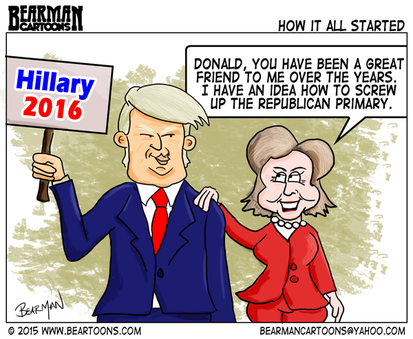 9-22-15-Bearman-Cartoon-Clinton-Trump-Conspiracy-Why-Trump-is-in-the-Race