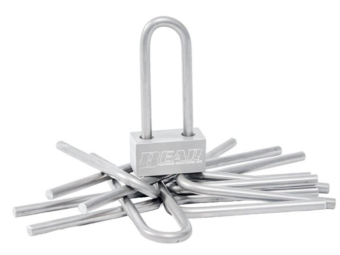 The Ultimate Padlock Prop Replacement Shackles - a photo of the padlock with extra shackles