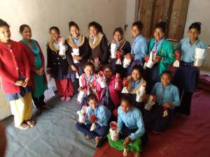 The girls received menstrual cups and training