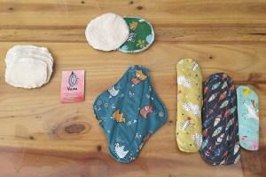 Imagen de las compresas de tela que confecciona Vulvita