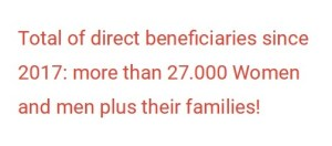 Total of direct beneficiaries since 2017: more than 27.000 Women and men plus their families!