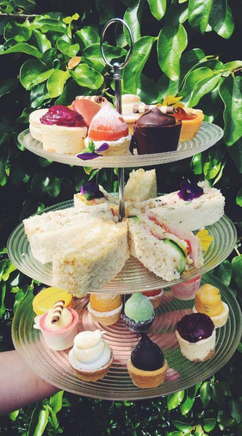 A tiered array of delicious finger sandwiches, petit fours, freshly baked scones, served with tea or coffee.
