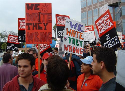 WGA members gathering outside FOX Studios (Nov. 9, 2007)
