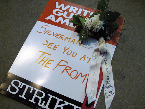 Ben Silverman prom corsage and picket sign!