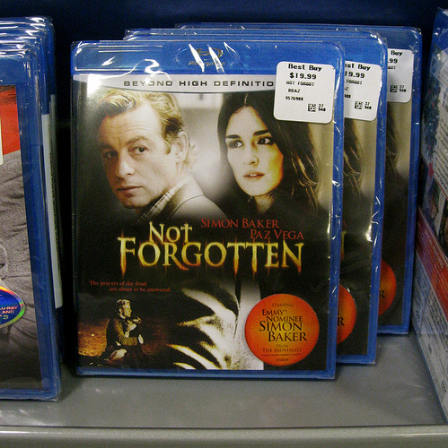 """Not Forgotten"" Blu Ray on the shelf at Best Buy"