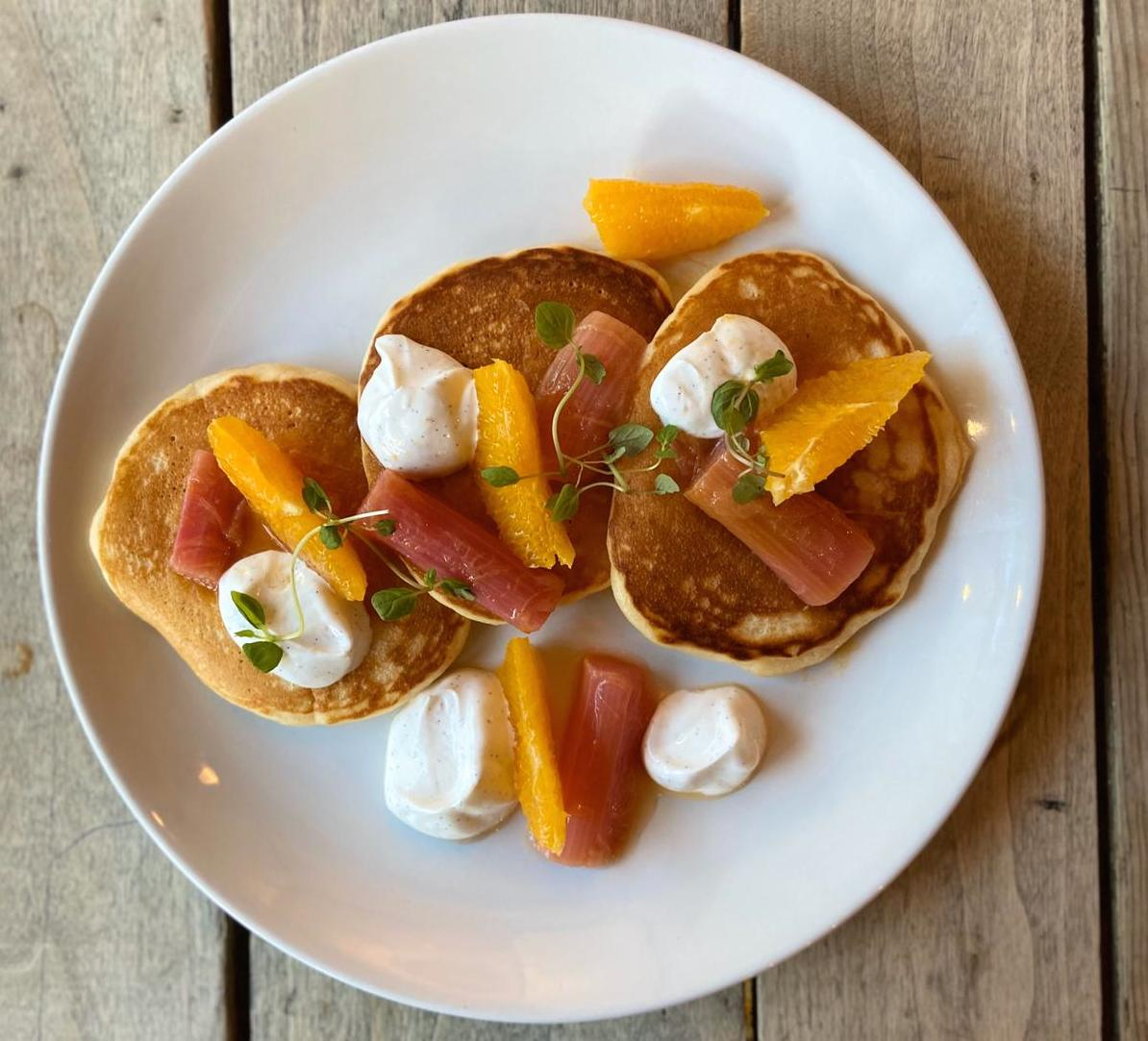 Buttermilk pancakes with rhubarb orange and vanilla yoghurt - Ask For Janice